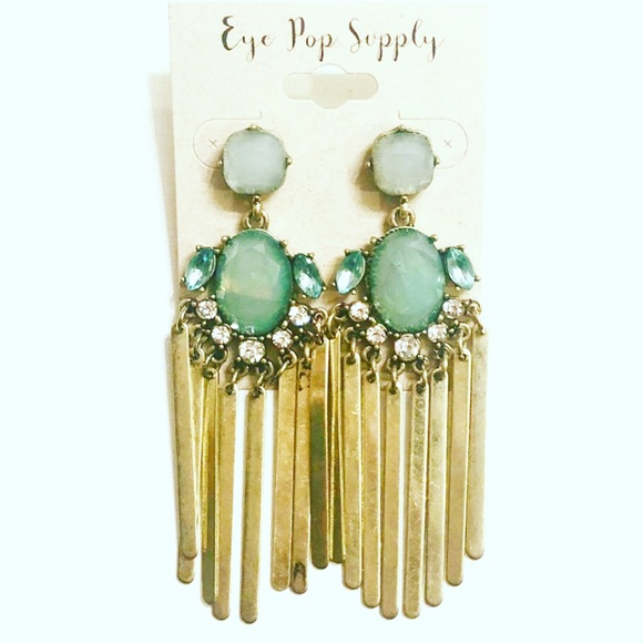 Drop Fringe Earrings Brass And Cubic Zirconia